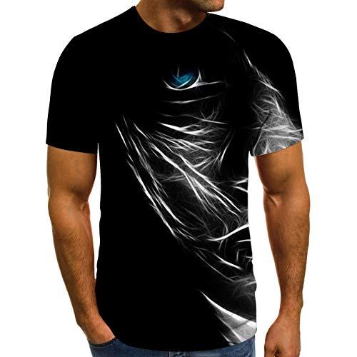 Herren T-Shirt Frühling Sommer Casual Fantasy Motiv Tops Schlanke 3D-gedruckte Pullover Kurzarm O-Ausschnitt Bluse(M,Schwarz)