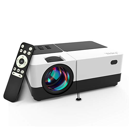 Wsky Video Portable Projector Outdoor Home Theater, LED LCD HD 1080p Supported with Dual Speakers, Compatible DVD, Phone, Laptop, HDMI, TV, PS4, PC
