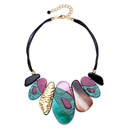 FAMARINE Vintage Tribe Chunky Collar Necklace, Geometry Acrylic Pendant Bib Statment Necklace Costume Jewelry (Necklace)