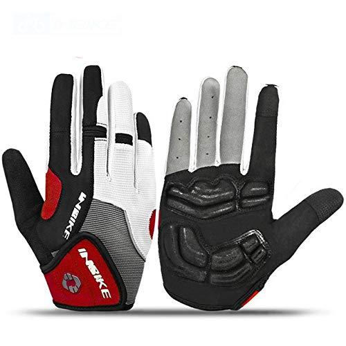 Gants d'équitation à vélo épaississement Complet des Doigts Gants de Ski pour Sports de Plein air Gants d'escalade de Course de Moto - Rouge, XL