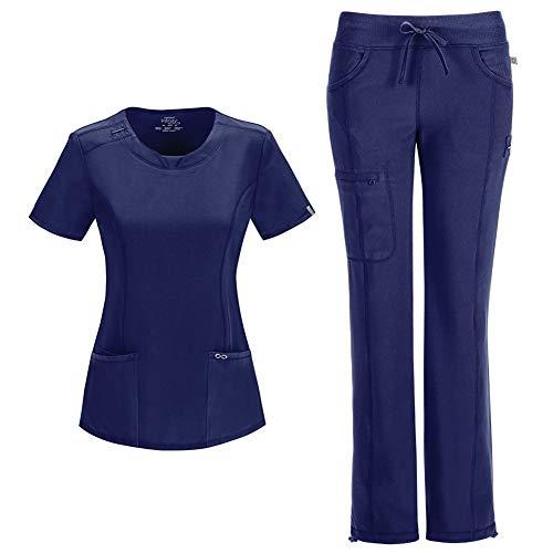 CHEROKEE Infinity Women's Medical Uniforms Scrub Set - 2624A Round Neck Top & 1123A Low Rise Straight Leg Drawstring Pant (Navy - Medium/Medium Tall)