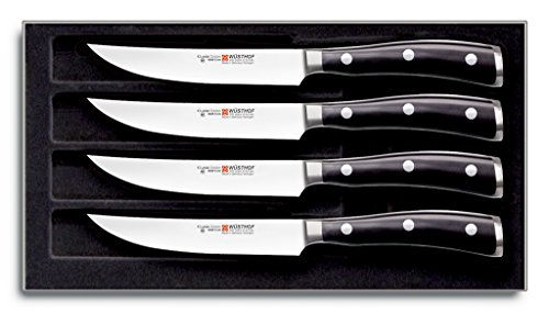 WÜSTHOF CLASSIC IKON Precision Forged High-Carbon StainlessSteel German Made, 4 Piece Steak Knife Set Full-Tang Handle with Half Bolster