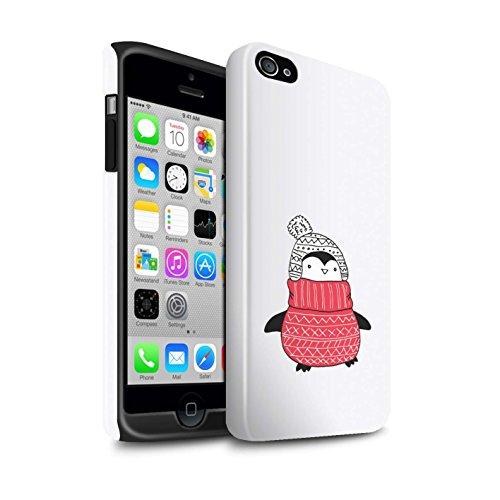 Stuff4® beschermhoes/cover/case/behuizing/telefoon voor Apple iPhone 4 / 4S / wollen trui rood/schattig Pinguin Doodle Design