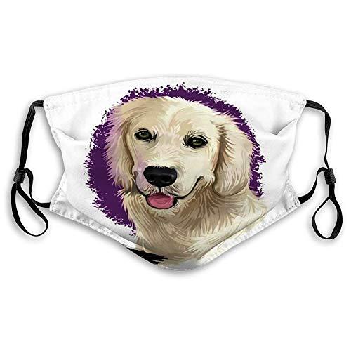 Mundschutz Gesichtsschutz Wiederverwendbarer waschbarer Schildschal (2 Filter) Golden Retriever Dog Digital Art Scotland Origin