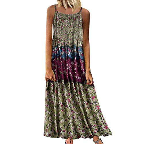 Find Discount Women Bohemian Long Maxi Dress | Boho Floral Print Straps Dresses | Ladies Vintage Sle...