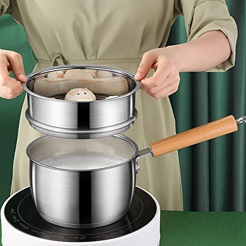 Olla de fusión, mango de madera liviano, antiadherente, sartén para hervir leche, apto para lavavajillas con tapa de vidrio templado para estufa eléctrica, estufa de gas para cocina casera