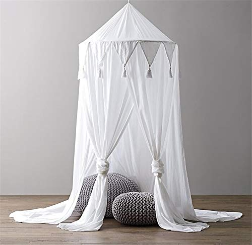 Kids Bed Canopy,Hanging Mosquito Net for Baby Crib Nook Castle Game Tent Nursery Play Room Decor – (White)