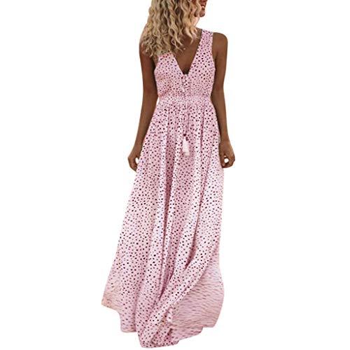 Sunday Damen Sommerkleider Lang Blumen Kleid Ärmellose V-Ausschnitt Kleid Lange Partykleid Boho Tupfen Strandkleid (XXL, Rosa)