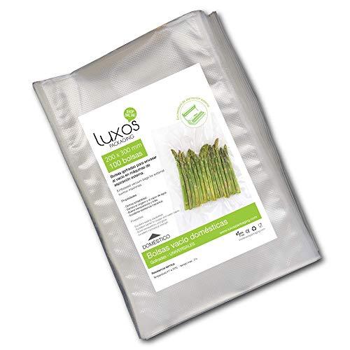 Luxos Packaging 330754 00 Bolsa de vacío gofrada domestica, 200 x 300 mm (100 unidades) para conservación de alimentos, Transparente