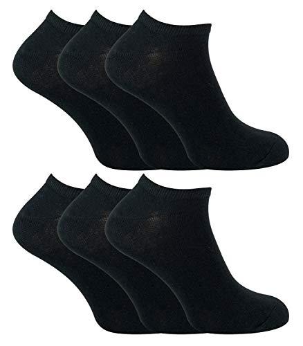 Sock Snob - 6 Pack Hombre Algodon Quarter Cortos Tobillero Deportivos Calcetines (39-45 eur, Black)