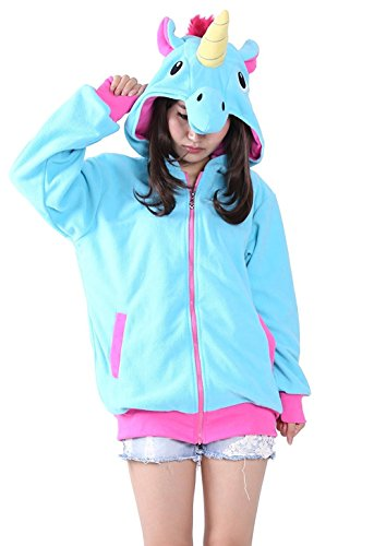 KiKa Monkey Cosplay Einhorn Tier Hoodie Jacke Pullover Party Kostüm (XL, Blau)
