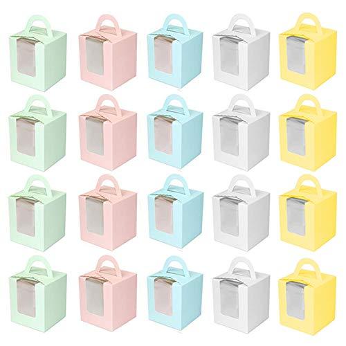 INTVN 20 Stück Cupcake Kuchenboxen, Dessert Obstkisten Muffins Gebäck Container Lagerung Träger (Box Weiß, Rosa, Blau, Grün, Gelb)