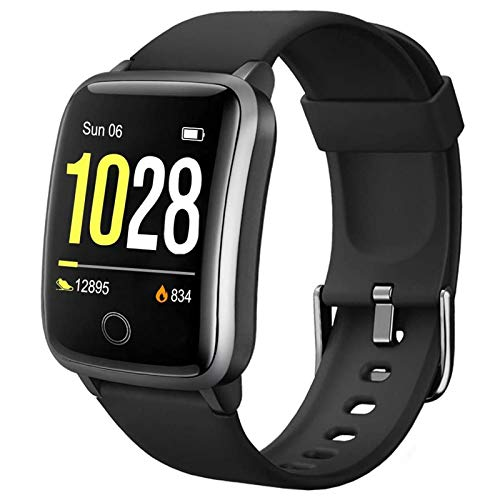Lintelek Smartwatch Herzfrequenzmessung IP68 Wasserdicht Wettererinnerung und Schlafmonitor Schrittzähler Sport-Armbanduhr für Damen Herren kompatibel iOS und Android