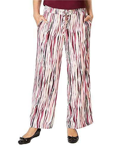 JM Collection Women's Straight Leg Printed Drawstring Pants. 100036280MS Painted Stripes XL
