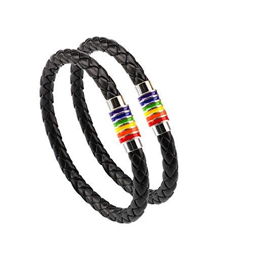 Gay Pride Armband Regenbogen Armband (2 Stück), Paar Schwarz Lederarmband Herren Damen LGBT Armreif mit Regenbogen gestreift Edelstahl Magnetverschluss 22cm
