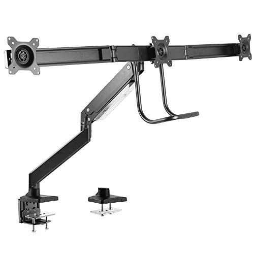 VIVO Premium Aluminum Heavy Duty Arm, Triple Monitor Desk Mount with Pneumatic Spring Height Adjustment and Pull Handle, VESA Stand for 3 Screens 17 to 24 inches (STAND-V101G3)
