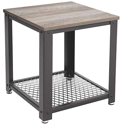 VASAGLE Side Table, Greige-Grey, 45 x 45 x 55 cm (L x B x H)