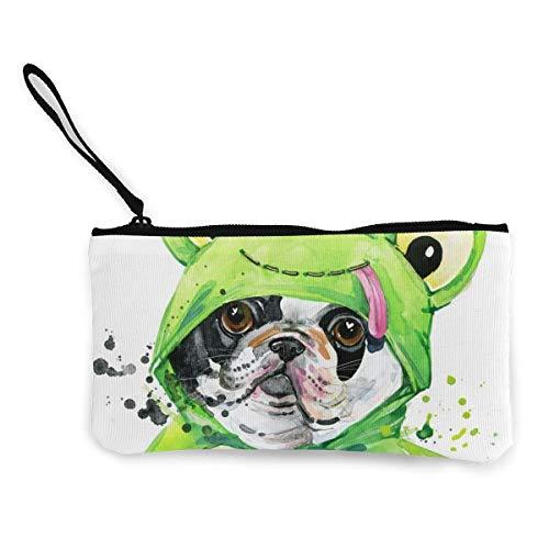 Rterss hond dragen groene kikker kostuum portemonnee portemonnee tas geld zak veranderen zak sleutelhouder mobiele telefoon tas met handvat bedrukt canvas op maat