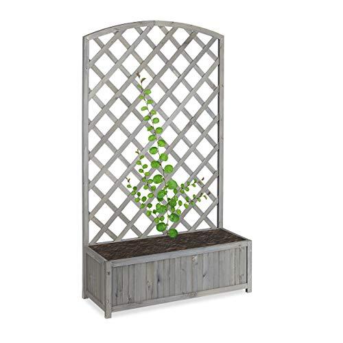 Relaxdays Planter Box with Trellis, Weatherproof, Wooden, Balcony, Garden Bed, Lattice, HxWxD: 153 x 90 x 35.5 cm, Grey/Silver/Metallic
