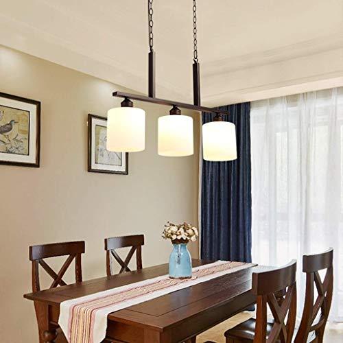 XAJGW Vintage rustikale industrielle 3-Lichter Küche Insel Kronleuchter Triple 3 Köpfe Anhänger hängende Decke Leuchte mit ovalen Kegel Klarglas Schatten (schwarz)
