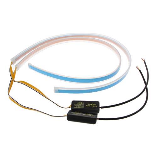 Runrain Feux de Circulation diurnes étanches pour Voiture à LED Ultra Mince et Flexible - 60 cm