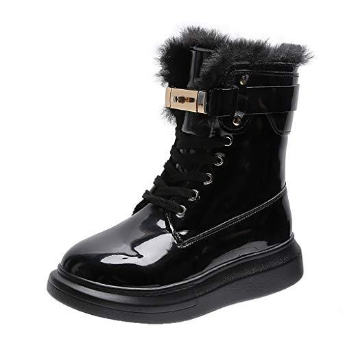 WggWy - Botas de nieve altas de piel para mujer y botas con submardes, antitrineo, gruesas y gruesas, de terciopelo grueso, para invierno, botas de moda, para todo el día, cálidas, negras, 37