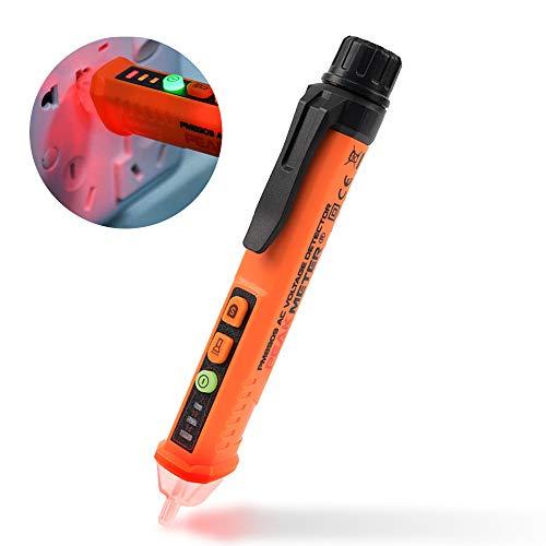 Peakmeter Advanced Electric Voltage Tester Berührungslos, einstellbare Empfindlichkeit für Spannungsdetektor 12-1000 V AC Induktives digitales Spannungsmesswerkzeug mit LED-Taschenlampe, Alarmmodus,
