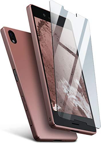 moex Hardcase kompatibel mit Sony Xperia X - Hülle Ultra dünn mit Panzerglas Schutzfolie, Slim Hülle Handyhülle beidseitig, matt Rosegold