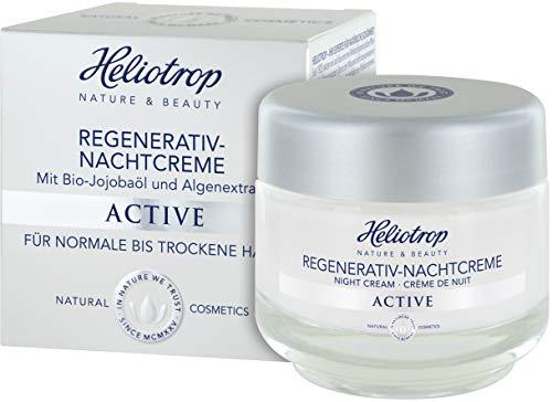 HELIOTROP Naturkosmetik ACTIVE Regenerativ-Nachtcreme, Unterstützt die hauteigene Regeneration, Bio-Jojobaöl, Stimuliert die Collagensynthese & schenkt neue Vitalität & Frische, 50ml