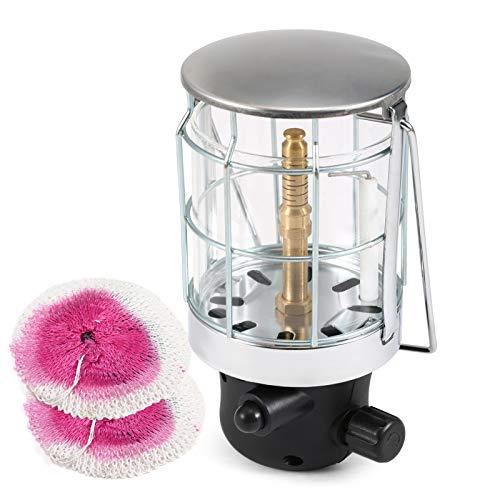 Fesjoy Lámpara de gas para camping con encendedor piezoeléctrico para tienda de campaña, plana, compatible con camping, senderismo