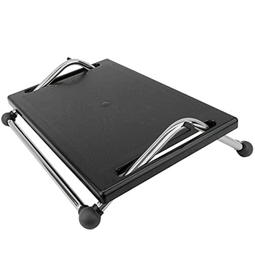 PrimeMatik - Reposapiés con Plataforma Ajustable de plástico Negro 450 x 370 mm