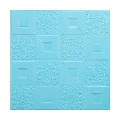 HUSTLE 10Pcs 3D Wandpaneele Selbstklebend Steinoptik Tapete 70 X 70 cm Wasserfest Ziegelstein Wandtattoo PVC Verdicht DIY Schaum Panel Weiche Ziegel Anti-Kollision Wandaufkleber,Light Blue
