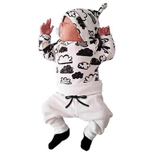 Switchali Ropa Bebe Nino Recien Nacido otoño Impresión de la Nube Blusa Bebe niña Manga Larga Camisetas Bebé Conjuntos Moda Camisa + Pantalones + Sombrero (3 Piezas) (70 (0~3meses), Blanco)