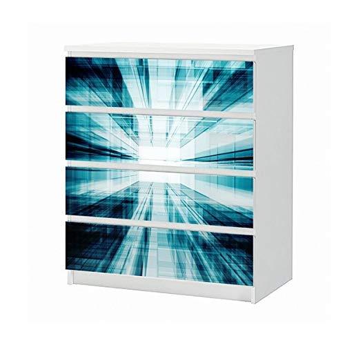 Set Möbelaufkleber für Ikea Kommode MALM 4 Fächer/Schubladen 3D Effekt Tür Durchgang blau Tunnel Muster Hintergrund Energie Aufkleber Möbelfolie sticker (Ohne Möbel) Folie 25B1104