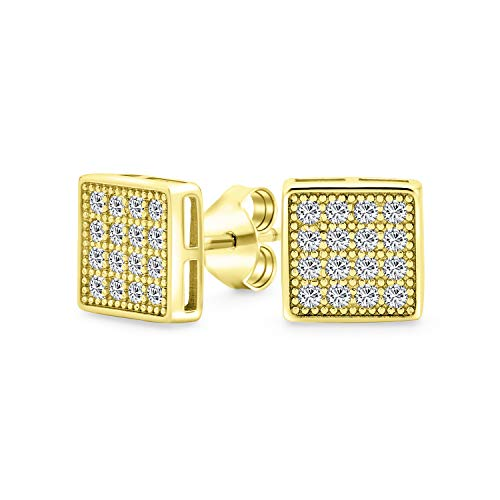 Geométrico cuadrado en forma de circonio cúbico micro Pave CZ pendientes para hombres para mujeres 14K oro plateado plata de ley 6MM