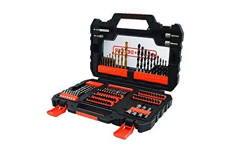Black+Decker Bohrer- und Schrauberbit-Set (104-teiliges, Metall-, Holz- und Steinbohrer, Stecknüsse, Bits, Magnethalter, Senker) A7230