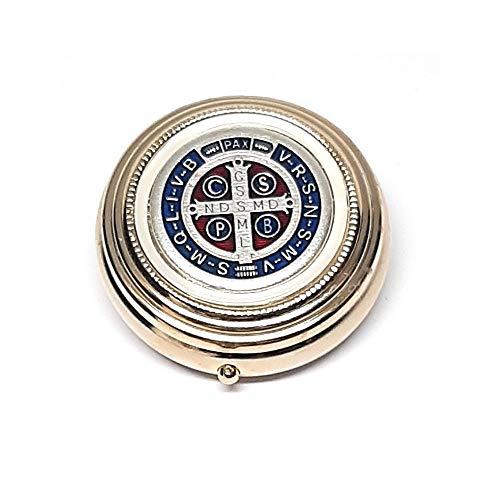 DELL'ARTE Artículos religiosos - Caja para rosario de latón dorado de 5 cm con placa esmaltada con cruz de San Benito