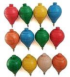 Lote de 12 Peonzas de Madera clásicas de colores con punta de bolígrafo - Regalos y Detalles para Comuniones, piñatas, Niños, Niñas, Fiestas de Cumpleaños, Trompas, peón, trompo, trompón, spinner