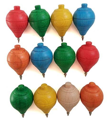 Lote de 4/12 Peonzas de Madera clásicas de colores con punta de bolígrafo - Regalos y Detalles para Comuniones, piñatas, Niños, Niñas, Fiestas de Cumpleaños, peón, trompo, spinner (12 Peonzas)
