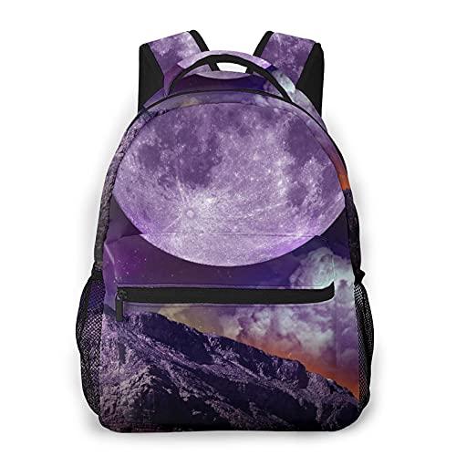 Kanxdecor Zaino casual,Fantasy Dark Night In Earth Outer Space Plane, borsa da viaggio con cerniera, per affari, scuola, lavoro, borsa per laptop 16  X11.5 X8