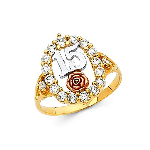 Oro amarillo y oro blanco de 14 quilates con circonita cúbica y diamante de imitación para quinceañera dulce 15 años, tamaño N 1/2, joyería de regalo para mujeres