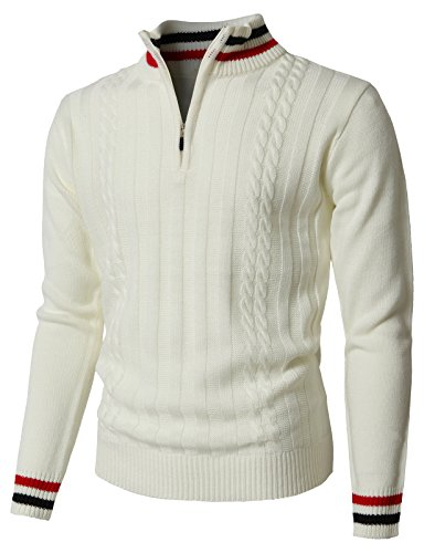 H2H Men's Mock Neck Elbow Patch 1/4 Button Sweater Relaxed Fit White US 2XL/Asia 3XL (KMOSWL0196)