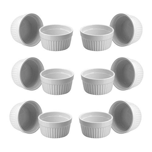 ToCi 12 weiße Creme Brulee Förmchen 9 cm | Schälchen für Ragout Fin | Pastetenform aus Keramik | auch für Schoko-Souffle
