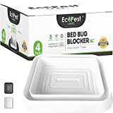 Bed Bug Interceptors – 4 Pack | Bed Bug Blocker (XL) Interceptor Traps (White) | Extra Large Insect Trap, Monitor, and Detector, for Bed Bugs