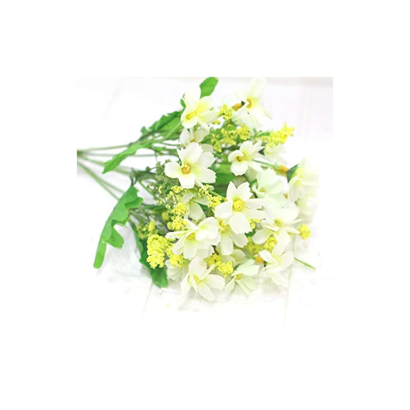 silk flower arrangements 28 heads artificial chrysanthemum daisy fake flower bouquet artificial flower silk flower wedding party supplies home decoration(white)