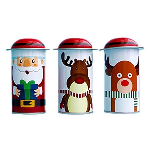 NUOBESTY 3pcs Noël métal boîtes de bonbons boîte de cadeau de Noël boîte de cadeau pour Noël fête parti fournitures fournit des bougies à thé cas cadeau cookie (motif aléatoire)