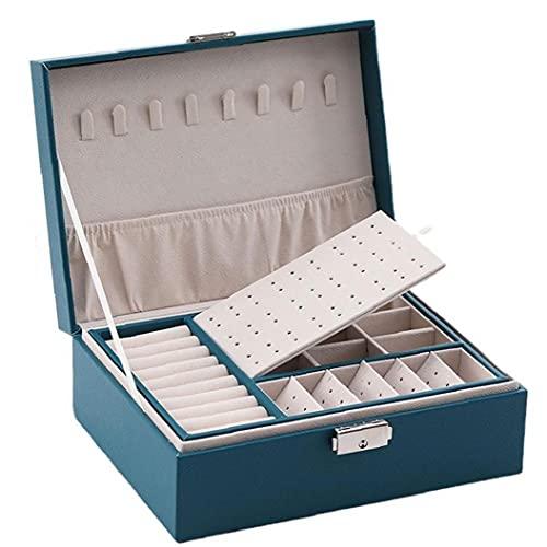Caja de joyería 2 capas de eliminación de joyería de cuero de madera Caja de almacenamiento con cerradura verde, accesorios de joyería y periféricos