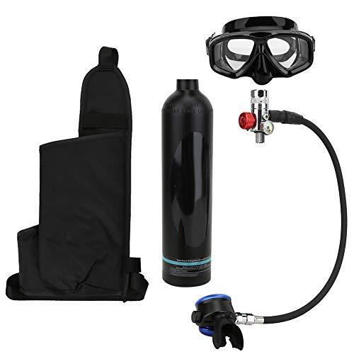 Alomejor Tanque de Buceo Cilindro de oxígeno de 1L 15-20 Minutos para Entrenamiento de respiración de Buceo Submarino con Gafas de Buceo