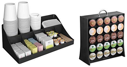 Mind Reader 11 Compartment Condiment 50 Capacity K-Cup Single Serve Coffee Pod Holder Storage Organizer, Black, One Size