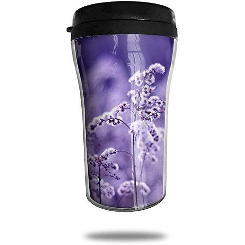 Paarse paardenbloem reizen koffie mok gedrukt draagbare vacuüm kop, geïsoleerde thee kopje waterfles Tumblers voor het drinken